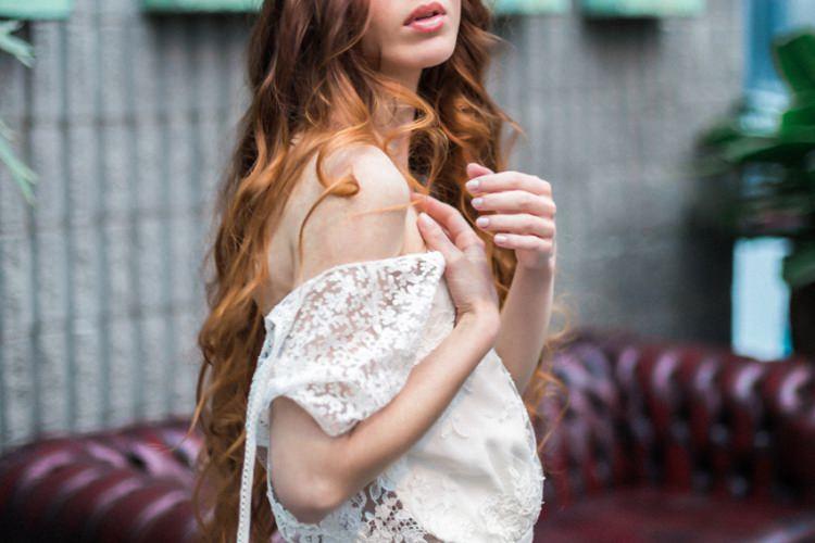 Red Long Hair Bride Dress Lace Loose Romantic Boho Fine Art | Greenery Botanical Wedding Ideas https://lisadigiglio.com/