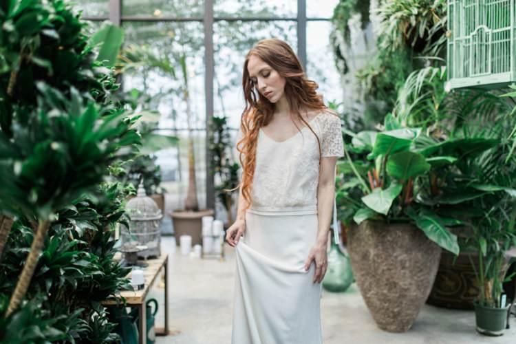 Conservatory Foliage Red Long Hair Bride Dress Lace Loose Romantic Boho Fine Art | Greenery Botanical Wedding Ideas https://lisadigiglio.com/