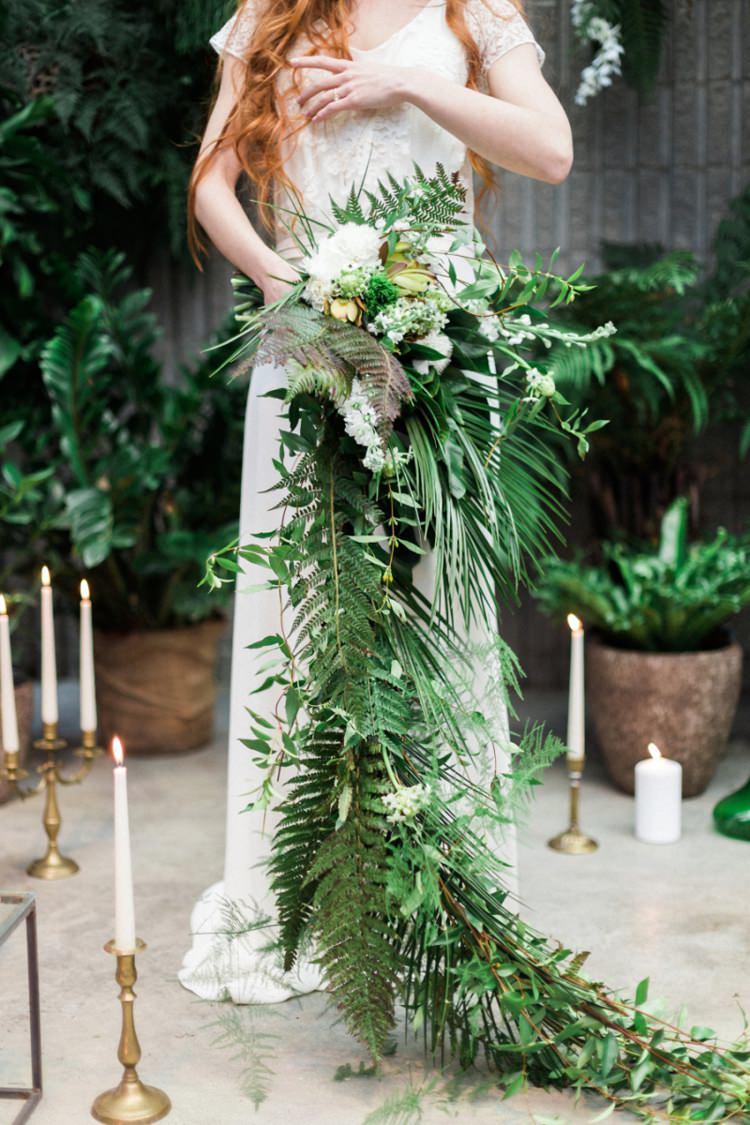 Large Cascading Bouquet Bride Boho Foliage Green White Candles Conservatory | Greenery Botanical Wedding Ideas https://lisadigiglio.com/