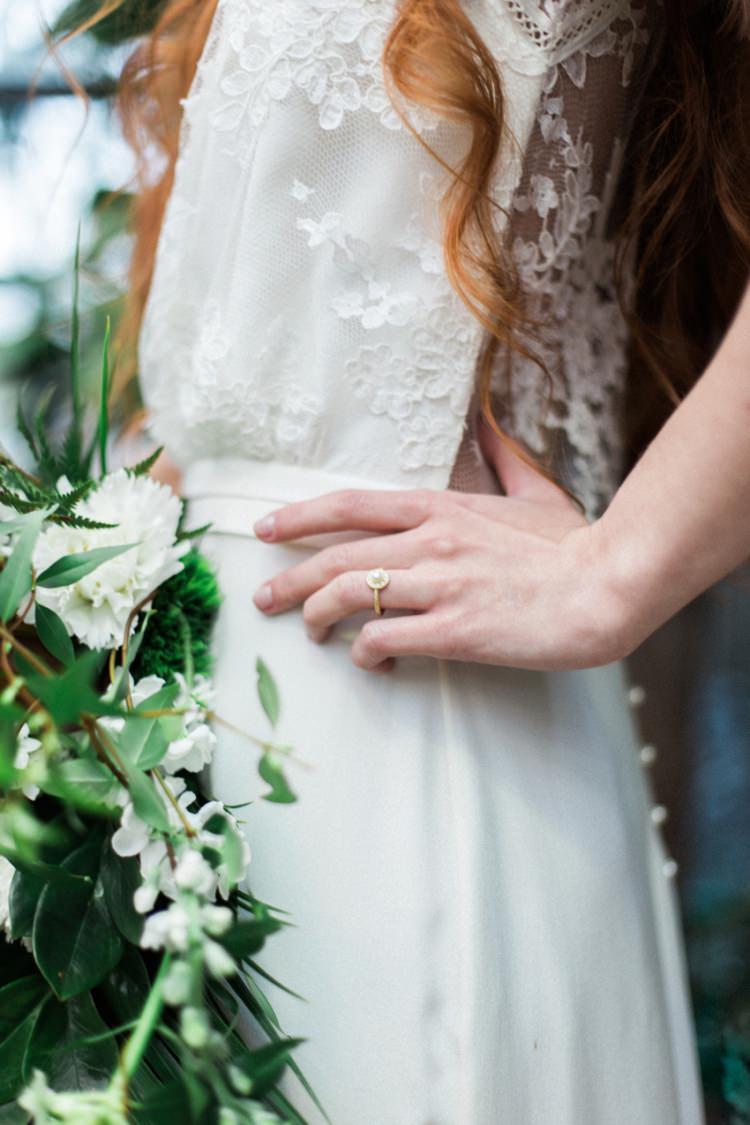 Bride Dress Lace Fine Art Large Green Foliage Bouquet Simple Handmade Jewelry | Greenery Botanical Wedding Ideas https://lisadigiglio.com/