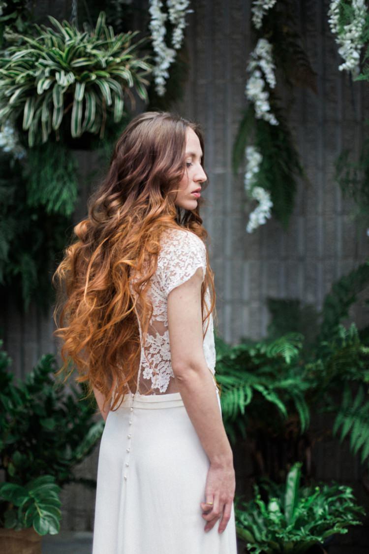 Red Long Hair Bride Dress Boho Wild Lace Fine Art Green Foliage Conservatory | Greenery Botanical Wedding Ideas https://lisadigiglio.com/