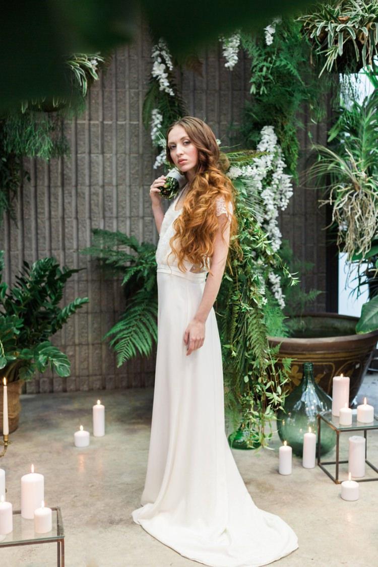 Conservatory Red Hair Bride Boho Dress Lace Fine Art Wild Cascading Foliage Bouquet | Greenery Botanical Wedding Ideas https://lisadigiglio.com/