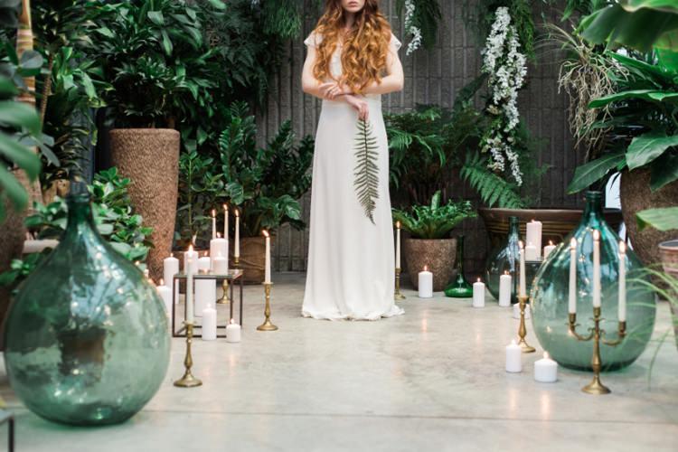 Red Long Hair Bride Dress Lace Fine Art Fern Conservatory Candles Green Glass | Greenery Botanical Wedding Ideas https://lisadigiglio.com/