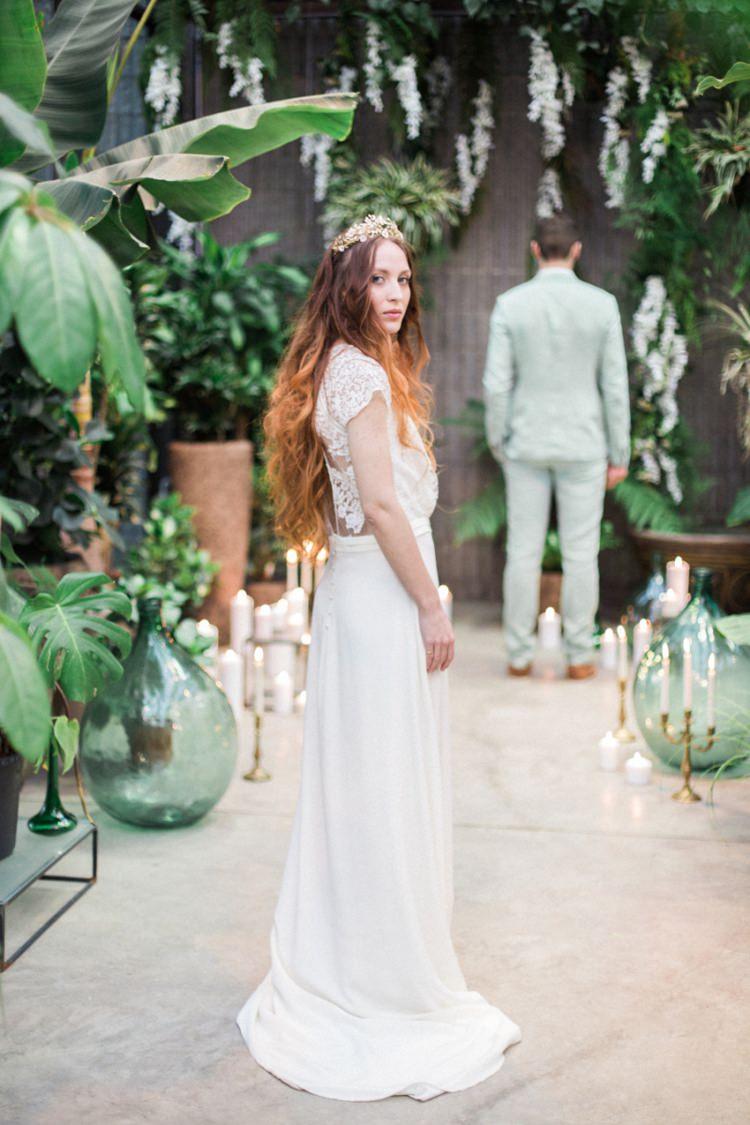 Bride Dress Lace Fine Art Large Green Foliage Gold Headpiece Crown Conservatory | Greenery Botanical Wedding Ideas https://lisadigiglio.com/