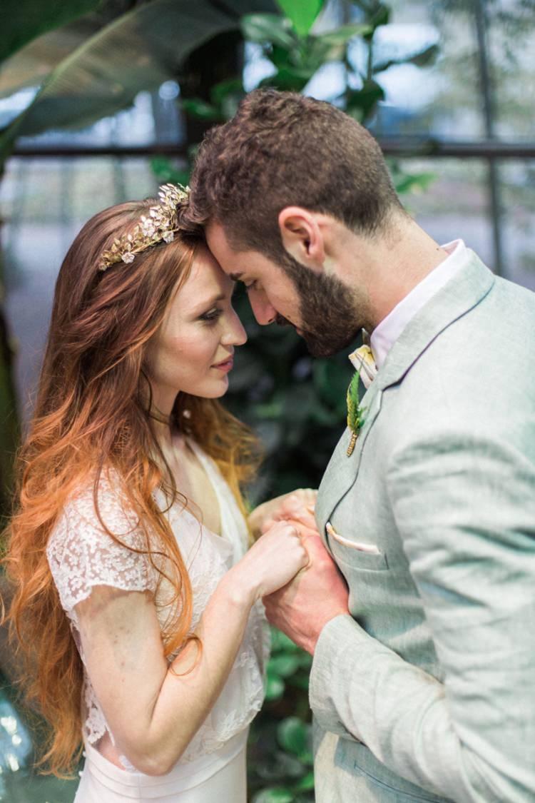 Bride Dress Lace Fine Art Green Suit Foliage Gold Crown Headpiece Conservatory | Greenery Botanical Wedding Ideas https://lisadigiglio.com/