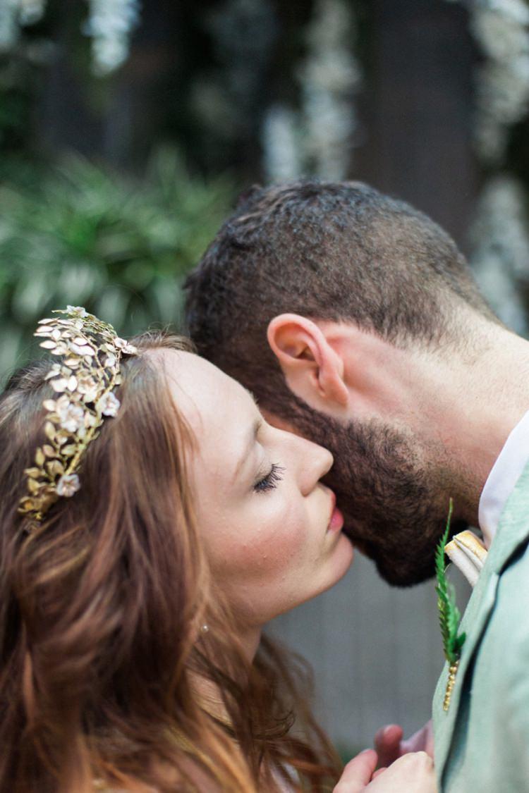Conservatory Bride Fine Art Green Suit Foliage Buttonhole Gold Crown Headpiece | Greenery Botanical Wedding Ideas https://lisadigiglio.com/