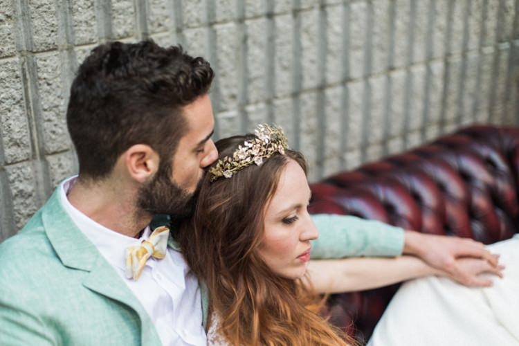 Conservatory Bride Fine Art Green Suit Foliage Bow Tie Gold Crown Headpiece | Greenery Botanical Wedding Ideas https://lisadigiglio.com/