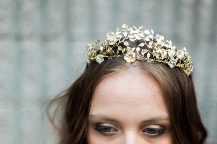 Bride Long Hair Gold Headpiece Crown Flowers Leaves Fine Art | Greenery Botanical Wedding Ideas https://lisadigiglio.com/