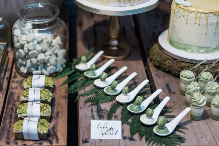 Conservatory Dessert Table Green Gold Ferns Foliage Simple Natural White Fresh | Greenery Botanical Wedding Ideas https://lisadigiglio.com/
