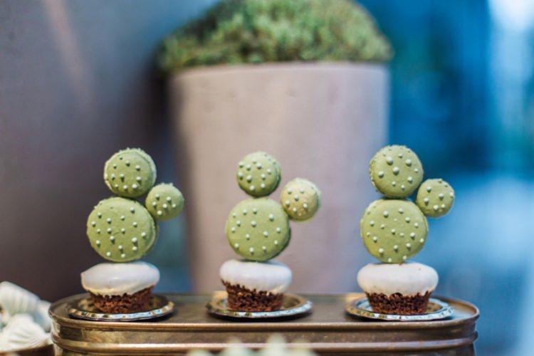Conservatory Dessert Table Cactus Macaroons Ferns Foliage Simple Natural White | Greenery Botanical Wedding Ideas https://lisadigiglio.com/