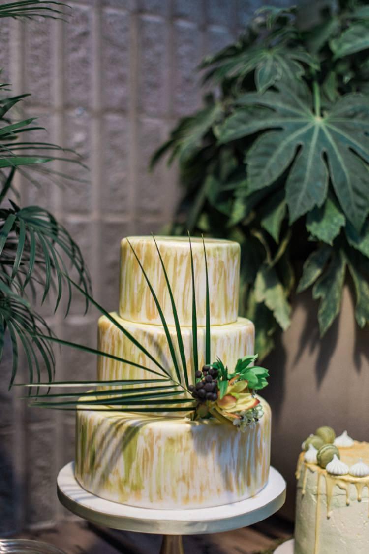 Conservatory Cake Green Gold Ferns Foliage Simple Natural White Fresh | Greenery Botanical Wedding Ideas https://lisadigiglio.com/