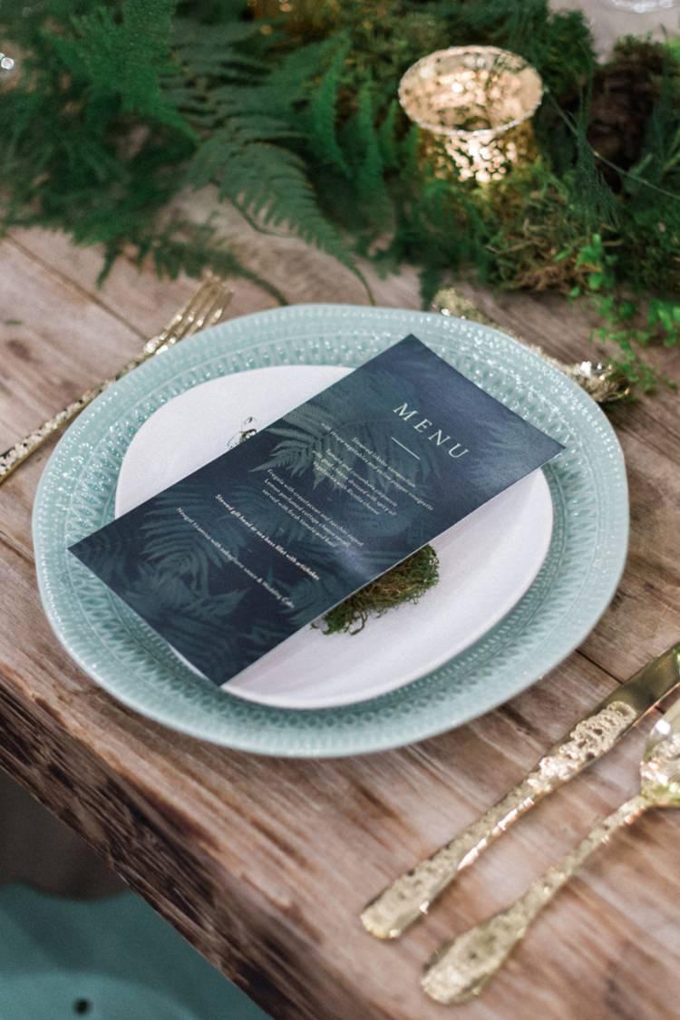 Conservatory Wood Table Moss Gold Ferns Foliage Simple Natural Dark Menu | Greenery Botanical Wedding Ideas https://lisadigiglio.com/