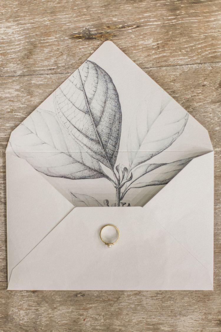 Stationery Envelope Liner Plant Illustration Modern Grey Monochrome | Greenery Botanical Wedding Ideas https://lisadigiglio.com/