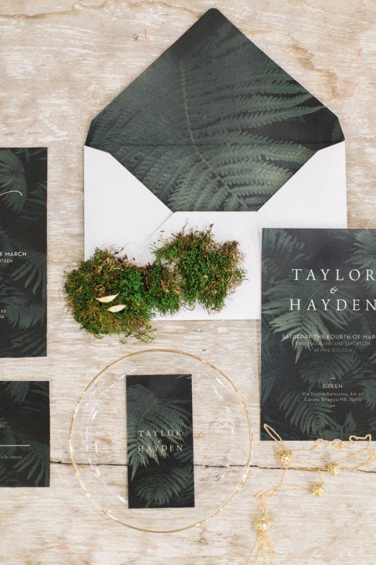 Dark Stationery White Envelope Liner Ferns Foliage Simple Natural Moss Modern | Greenery Botanical Wedding Ideas https://lisadigiglio.com/