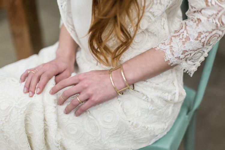 Bride Lace Dress Boho Fine Art Simple Natural Gold Handmade Jewelry | Greenery Botanical Wedding Ideas https://lisadigiglio.com/