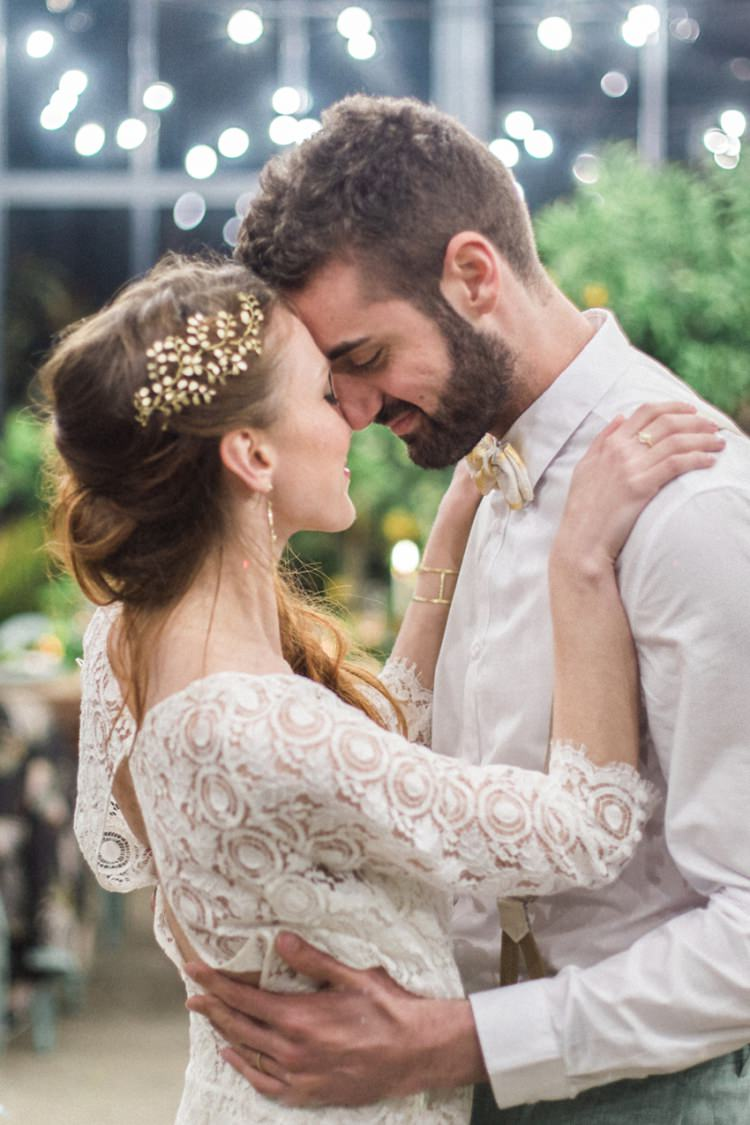 Gold Headpiece Bride Long Hair First Dance Lights Conservatory Italy Bow Tie | Greenery Botanical Wedding Ideas https://lisadigiglio.com/