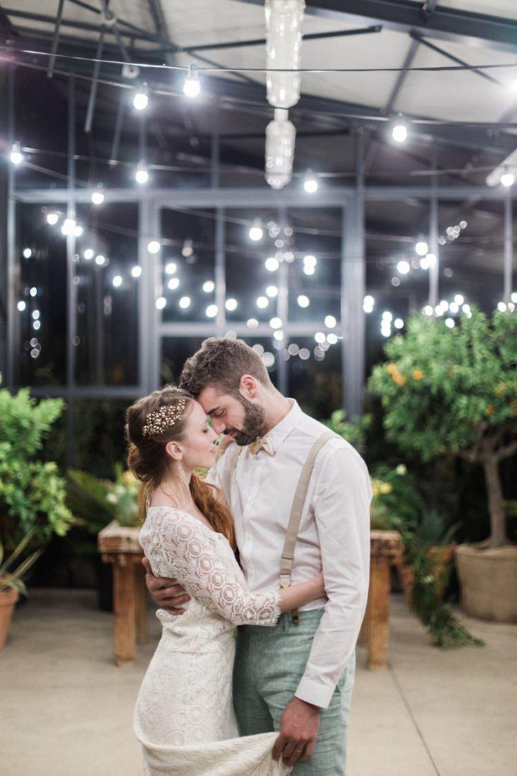 Gold Headpiece Bride Long Hair First Dance Lights Conservatory Italy Braces | Greenery Botanical Wedding Ideas https://lisadigiglio.com/