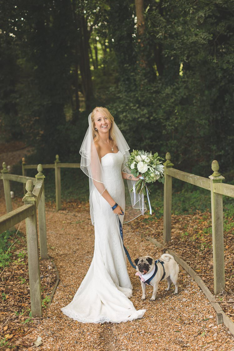 Bride Bridal Lace Gown Dress Strapless Rustic Outdoor Summer Wedding Pet Pug http://kirstymackenziephotography.co.uk/