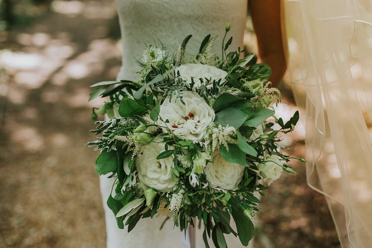 Greenery White Foliage Bouqet Rose Peony Bride Bridal Rustic Outdoor Summer Wedding Pet Pug http://kirstymackenziephotography.co.uk/