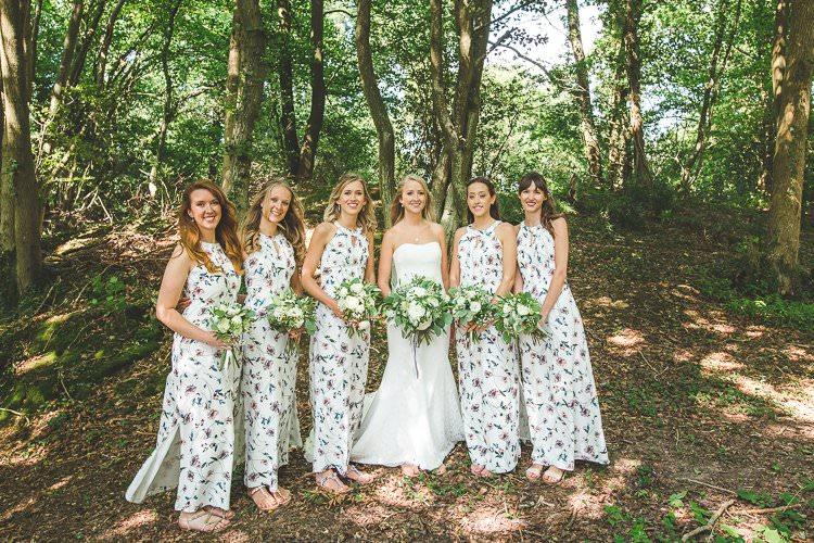 Long Maxi Floral Bridesmaid Dresses Rustic Outdoor Summer Wedding Pet Pug http://kirstymackenziephotography.co.uk/