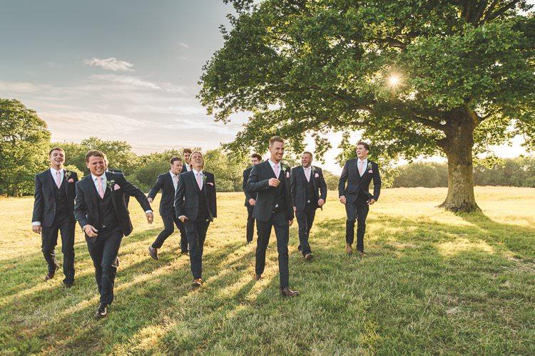 Groomsmen Suits Groom Pink Tie Rustic Outdoor Summer Wedding Pet Pug http://kirstymackenziephotography.co.uk/
