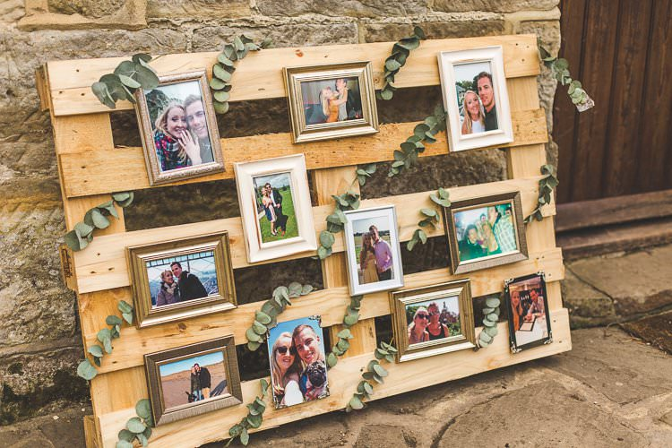 Wooden Pallet Frame Photos Rustic Outdoor Summer Wedding Pet Pug http://kirstymackenziephotography.co.uk/