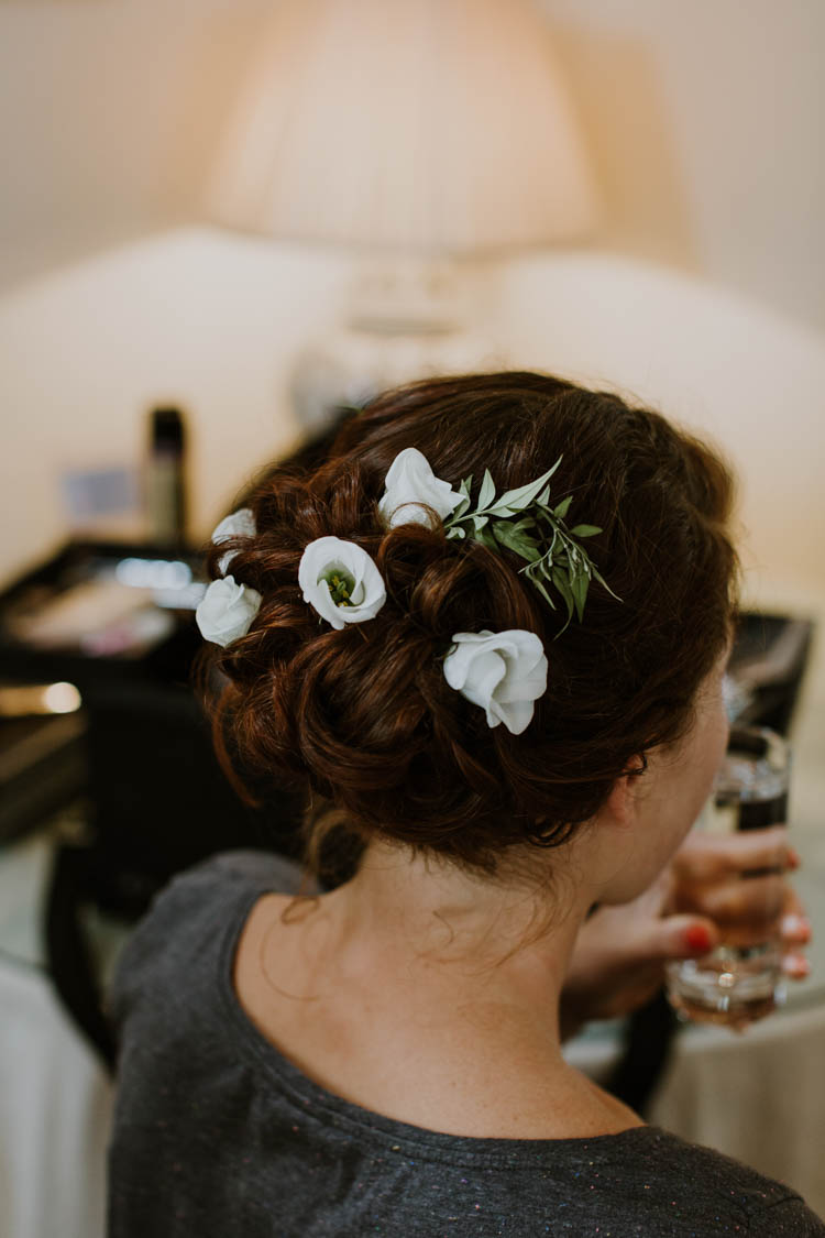Hair Style Bride Bridal Up Do Flowers Unconventional Country Cotswolds Barn Wedding http://www.alexandrajane.co.uk/
