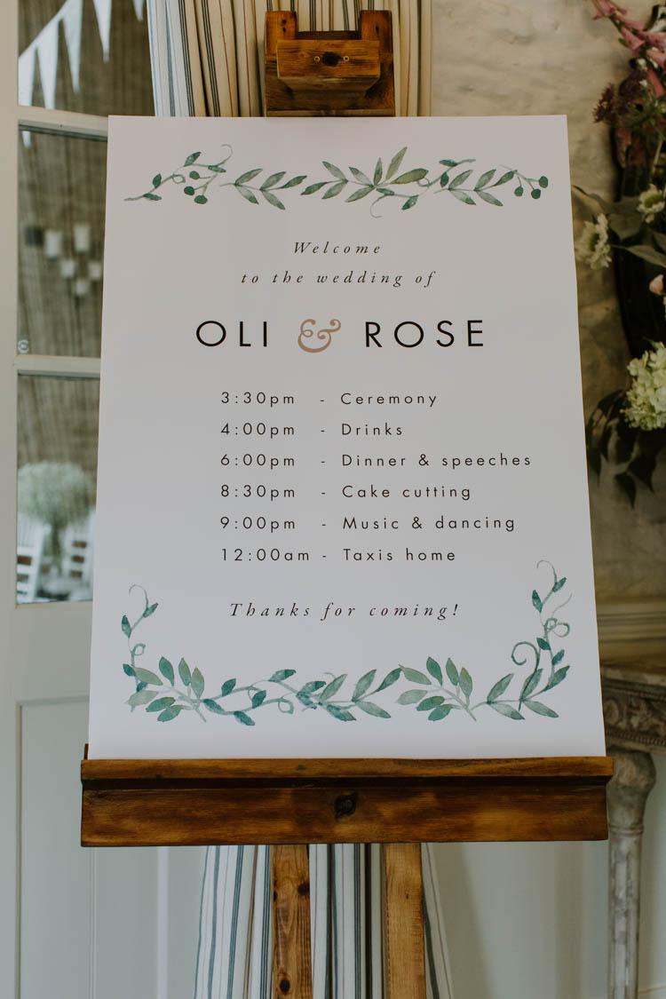 Botanical Greenery Stationery Sign Unconventional Country Cotswolds Barn Wedding http://www.alexandrajane.co.uk/