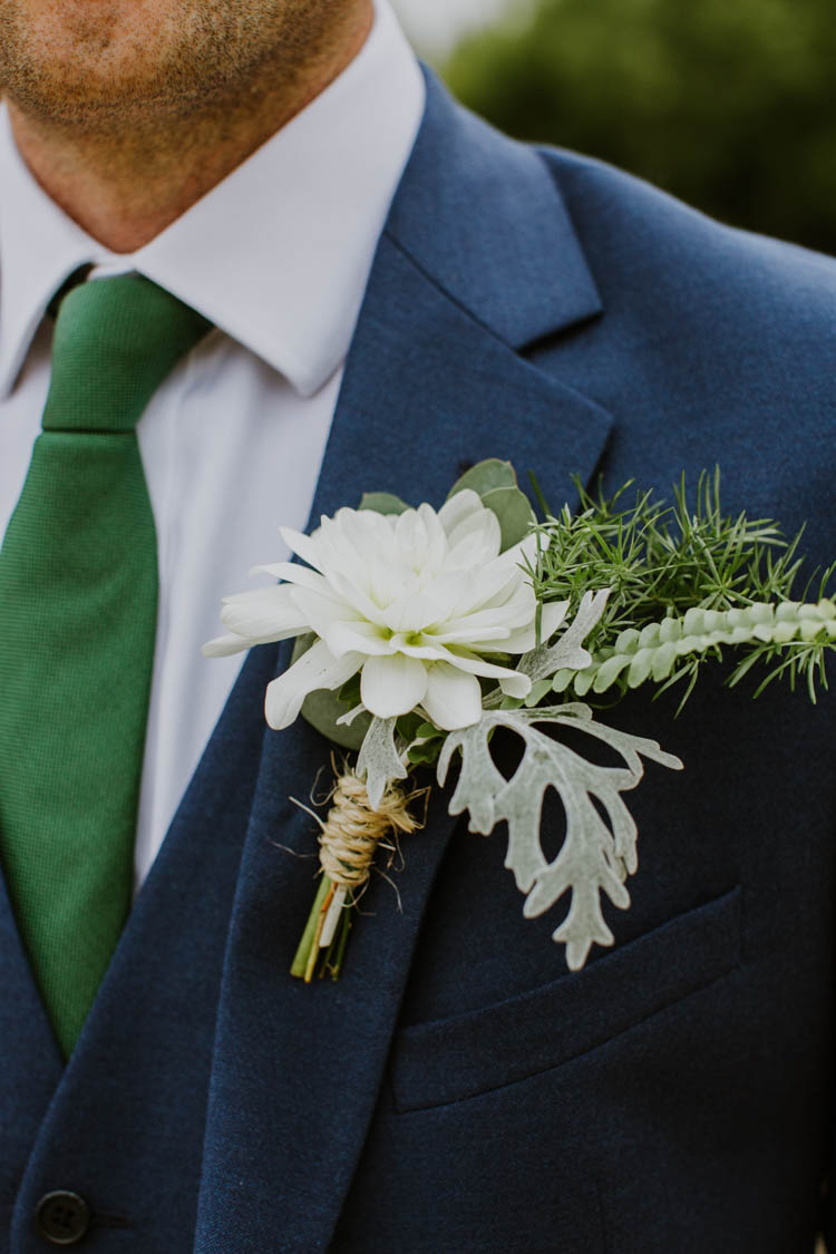 White Dahlia Greenery Buttonhole Groom Unconventional Country Cotswolds Barn Wedding http://www.alexandrajane.co.uk/