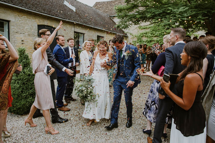 Confetti Throw Bride Groom Unconventional Country Cotswolds Barn Wedding http://www.alexandrajane.co.uk/