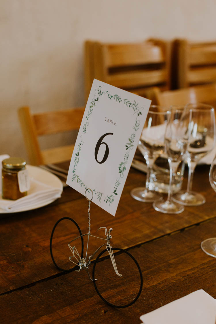 Table Number Botanical Greenery Bicycle Wire Unconventional Country Cotswolds Barn Wedding http://www.alexandrajane.co.uk/