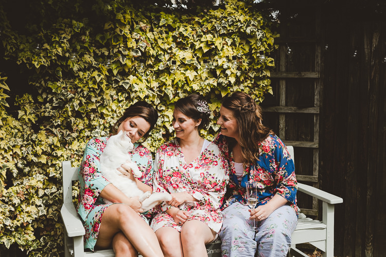 Floral Bridesmaid Dressing Gowns Bride Brightly Coloured Mismatched Marquee Wedding http://www.nicolacasey.photography/