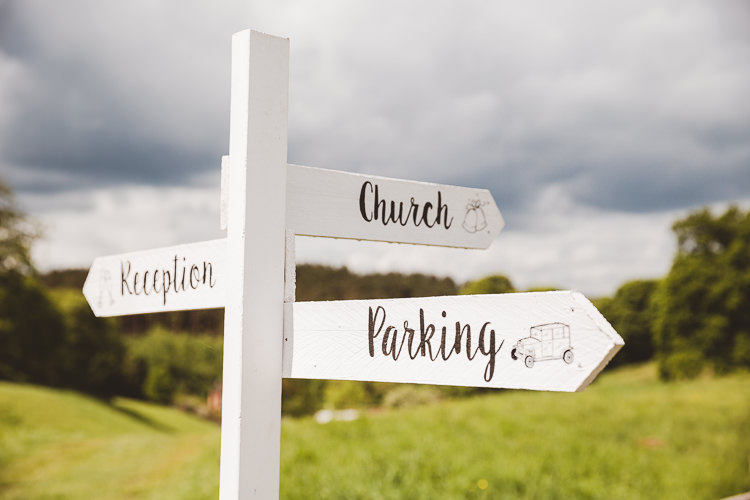 Sign Signpost Wooden Painted Brightly Coloured Mismatched Marquee Wedding http://www.nicolacasey.photography/