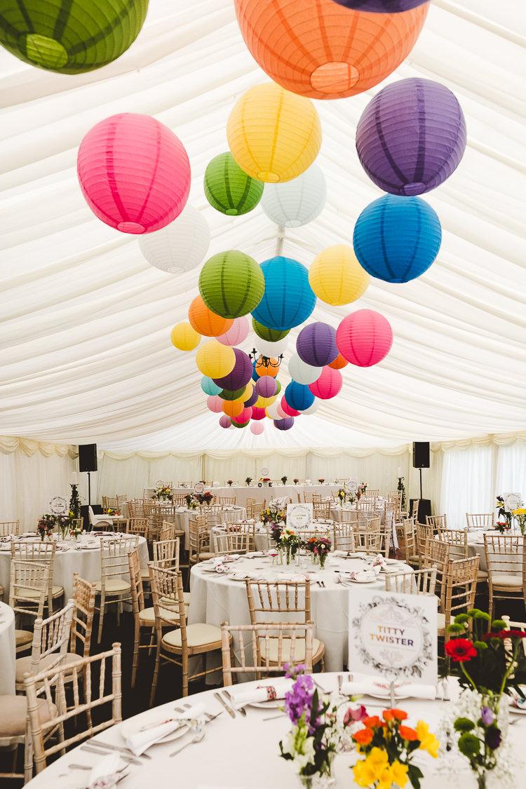 Rainbow Lanterns Decor Decoration Brightly Coloured Mismatched Marquee Wedding http://www.nicolacasey.photography/