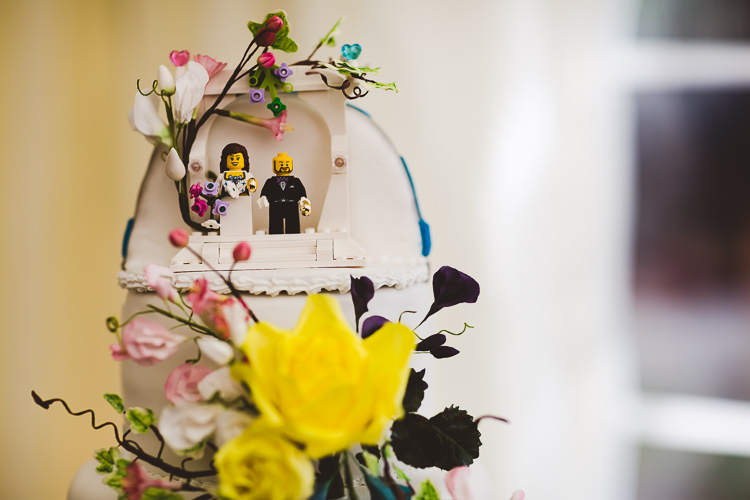 Lego Cake Topper Brightly Coloured Mismatched Marquee Wedding http://www.nicolacasey.photography/