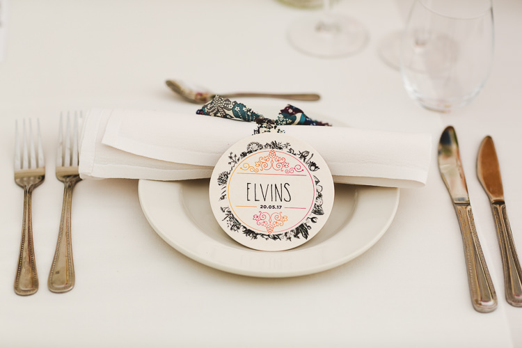 Place Setting Name Stationery Brightly Coloured Mismatched Marquee Wedding http://www.nicolacasey.photography/