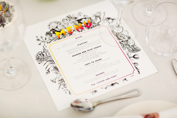 Menu Stationery Brightly Coloured Mismatched Marquee Wedding http://www.nicolacasey.photography/