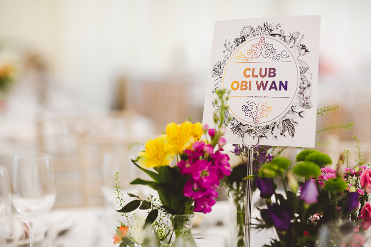 Star Wars Table Names Brightly Coloured Mismatched Marquee Wedding http://www.nicolacasey.photography/