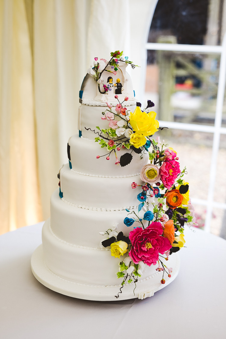 Floral Flower Cake Brightly Coloured Mismatched Marquee Wedding http://www.nicolacasey.photography/