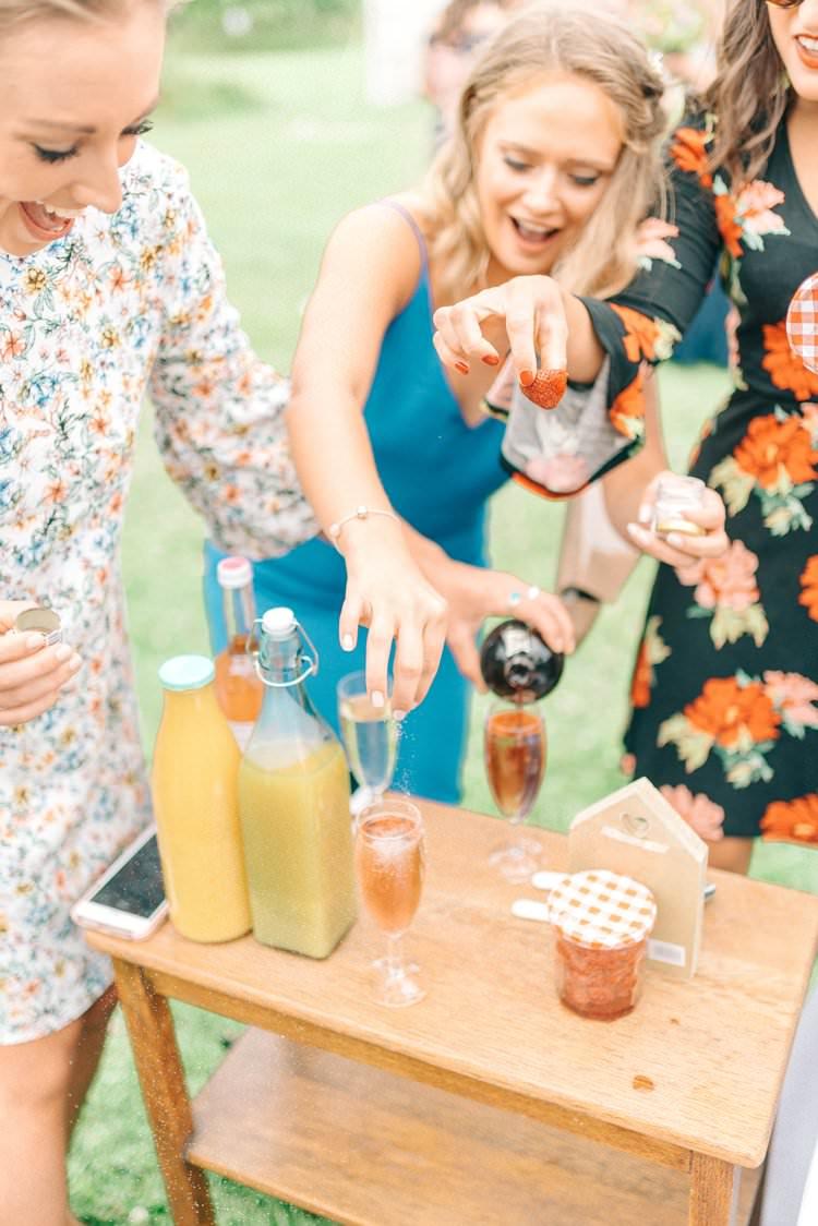 Pimp Prosecco Station Bar Drinks Rustic Summer Country DIY Barn Wedding http://sarahjaneethan.co.uk/