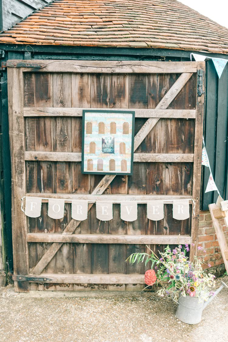 Seating Plan Table Chart Luggage Tag Frame Rustic Summer Country DIY Barn Wedding http://sarahjaneethan.co.uk/
