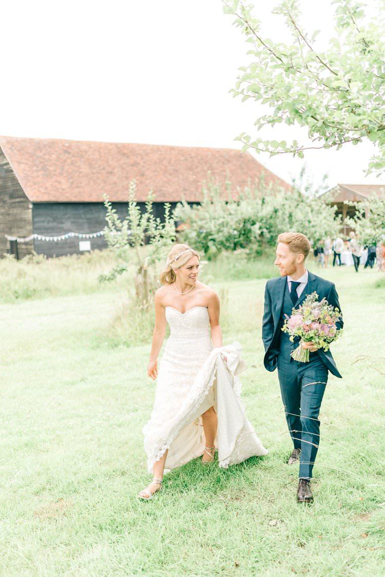 Groom Navy Check Suit Rustic Summer Country DIY Barn Wedding http://sarahjaneethan.co.uk/