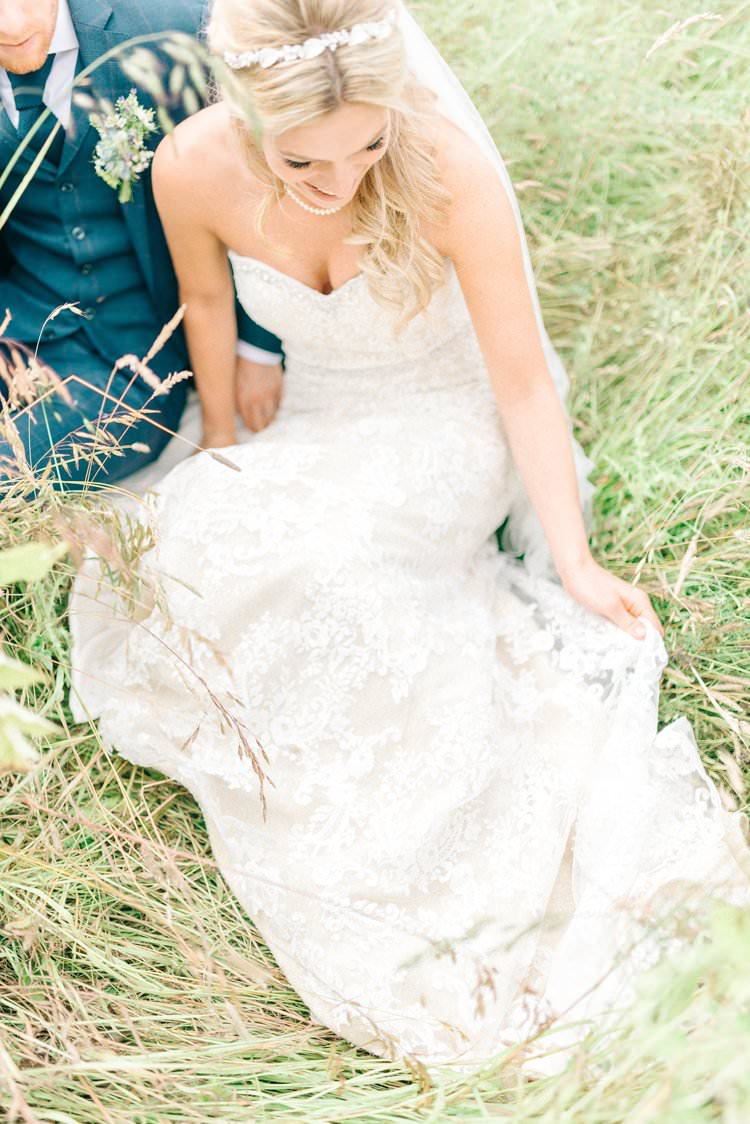 Strapless Sweetheart Dress Gown Lace Bride Bridal Rustic Summer Country DIY Barn Wedding http://sarahjaneethan.co.uk/