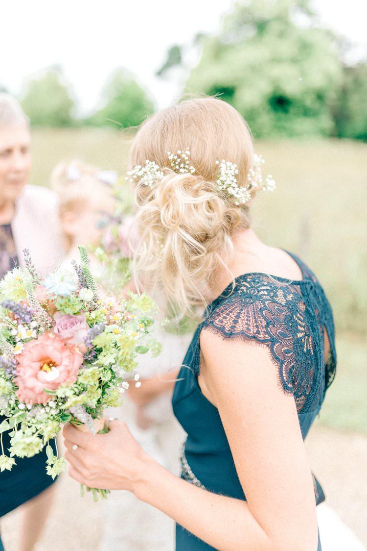 Bridesmaid Hair Flowers Style Up Do Rustic Summer Country DIY Barn Wedding http://sarahjaneethan.co.uk/