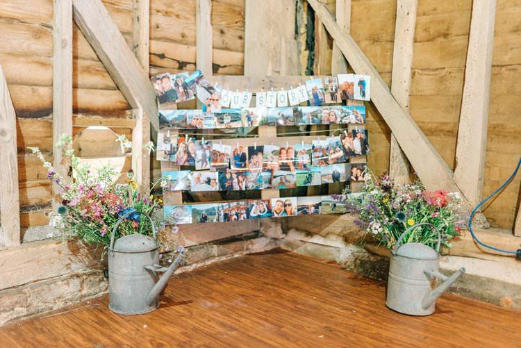 Photo Wall Rustic Summer Country DIY Barn Wedding http://sarahjaneethan.co.uk/