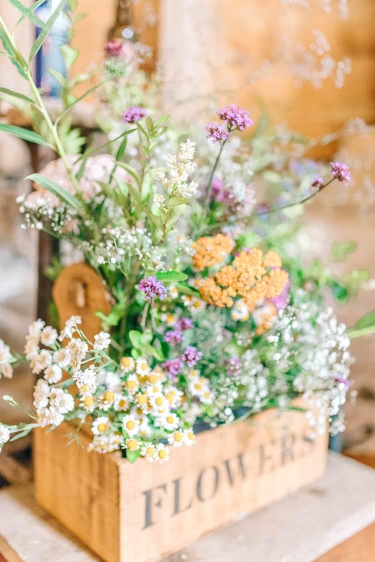 Wooden Box Flowers Pretty Wild Rustic Summer Country DIY Barn Wedding http://sarahjaneethan.co.uk/