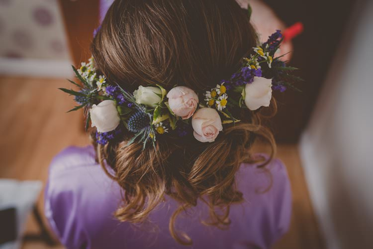 Flowers Hair Up Do Style Bride Bridal Quirky Afternoon Tea Wedding http://laurarhianphotography.co.uk/