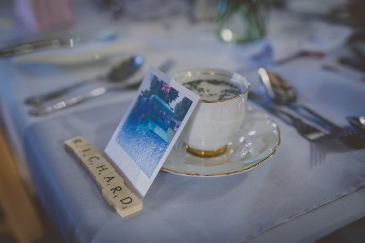 Tea Cup Candle Favours Scrabble Tile Place Names Quirky Afternoon Tea Wedding http://laurarhianphotography.co.uk/