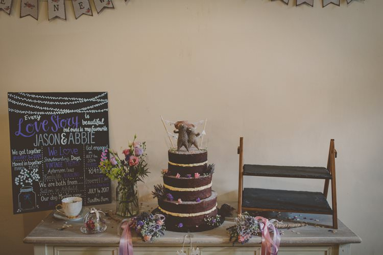 Cake Table Naked Chocolate Bunting Quirky Afternoon Tea Wedding http://laurarhianphotography.co.uk/