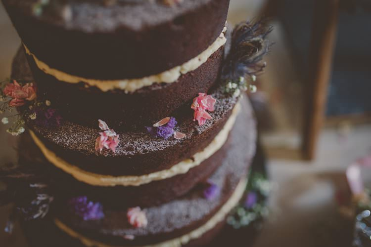 Naked Cake Sponge Chocolate Layer Quirky Afternoon Tea Wedding http://laurarhianphotography.co.uk/